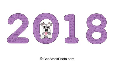 year 2018 with schnauzer - Digits 2018 with funny cartoon...