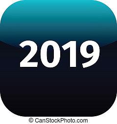 year 2019 blue icon