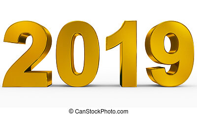 year 2019 golden 3d numbers isolated on white