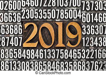 year 2019 in letterpress type