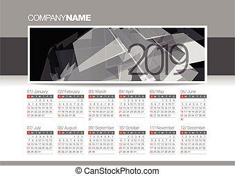 year., 2019, kalendarz, szablon, czysty