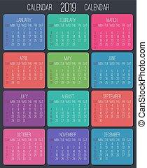 Year 2019 monthly calendar