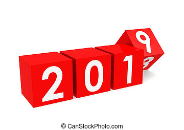 red cubes 2019 red cubes with 2018 2019 change on a white table