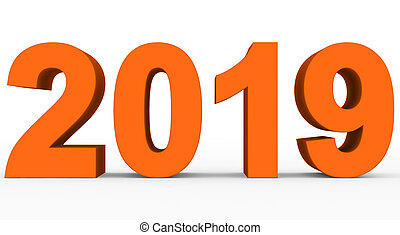year 2019 orange 3d numbers isolated on white