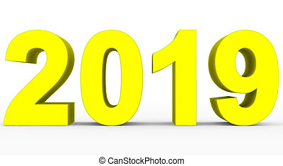 year 2019 yellow 3d numbers isolated on white