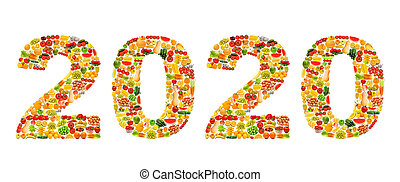 Year 2020 made from fruit photos