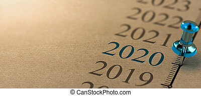 3D illustration of a timeline on kraft paper with focus on 2020 and a blue thumbtack. Year two thousand and twenty