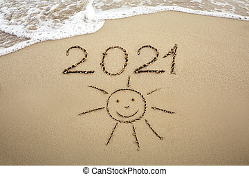 Wave coming to 2021 concept on the sand beach in the morning.