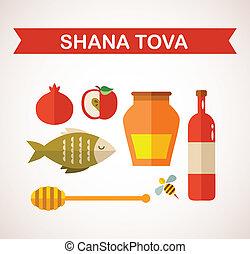 """year"""", año nuevo, icons., conjunto, """"happy, judío, (hebrew)"""