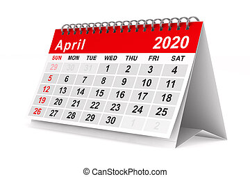 year., aislado, 2020, april., calendario, ilustración, 3d