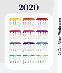 year., calendrier, 2020