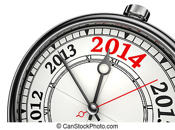 year change 2014 concept clock isolated on white background