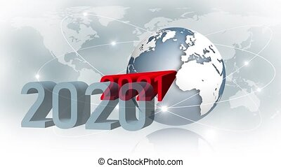 Year change 2021 - abstract text animation - earth globe in front of world map background and satellite rings - movement of the red year digits to change them