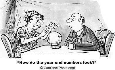 Year End Numbers - Cartoon of businessman asking fortune...