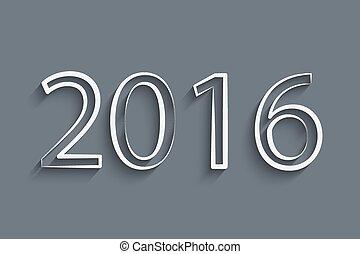 year., feliz, nuevo, 2016
