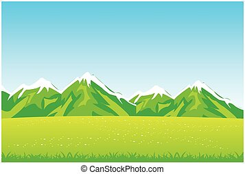 Year field and mountains - Year landscape of the field and...