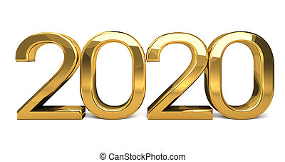 year golden design 3d render 2020