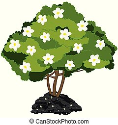 Year green bush with white flower. Vector illustration