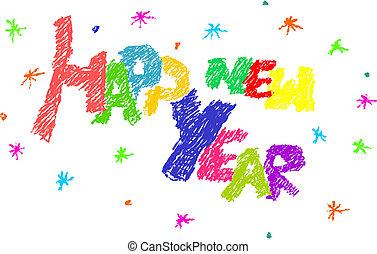 year., lycklig, färsk