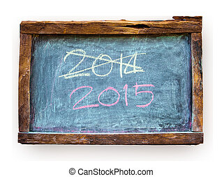 Year number 2015 written chalk on the blackboard