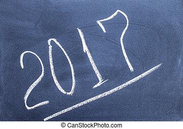 Year number 2017 written on the blackboard
