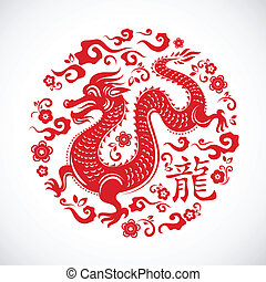 Chinese dragon for New Year 2012 - vector vackground
