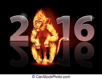 Year of Fire Monkey - Year Of The Red Fire Monkey. Greeting...