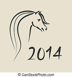 year of horse 2014 background  - vector illustration