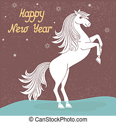 Year of horse - Prancing year of horse vector illustration