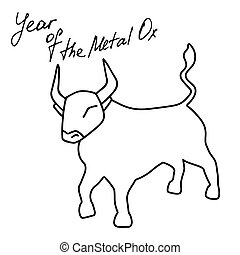 Year of Metal Ox. Bull vector icon illustration isolated on white background