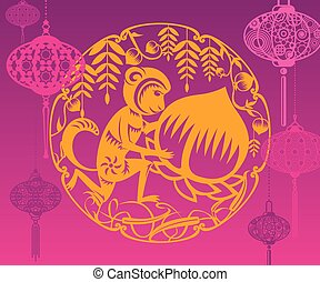 Year of Monkey in purple background