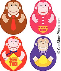 Year of Monkey Russian doll set