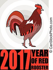 Year of red rooster. Patterned cock