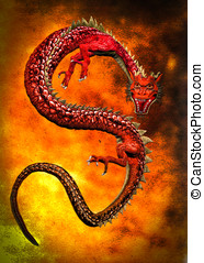Year of the dragon - Red Chinese oriental dragon curled on...