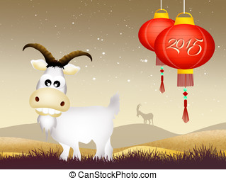 year of the goat - illustration of year of the goat