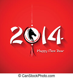 Year of the Horse - illustration of Happy New Year 2014 -...