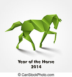 Year of the Horse design. Green origami horse
