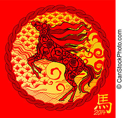 year of the horse in 3d effect