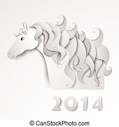 Year of the Horse. Paper cutout