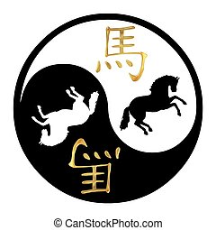 Year of the Horse - Yin Yang symbol with Chinese text and...