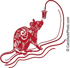 Year of the rat, red silhouette. Decoration for 2020 Chinese year of the rat, on a white background