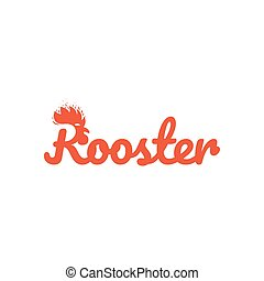 Year of the rooster hand-lettering. New Year calligraphy with head of rooster