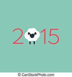 Year of the Sheep 2015. Vector chinese zodiac christmas background. Flat design