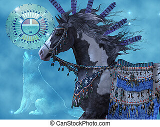 Year of the Wolf Horse - A black paint horse and a wolf are...