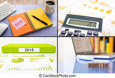 Year resolutions 2015 work planning, collage set, business colle