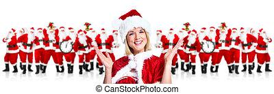 year., santa, 新しい, woman., クリスマス, 幸せ