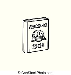 Yearbook hand drawn sketch icon. - Yearbook hand drawn...