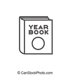 Yearbook line icon. - Yearbook thick line icon with pointed...
