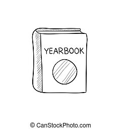 Yearbook sketch icon. - Yearbook vector sketch icon isolated...