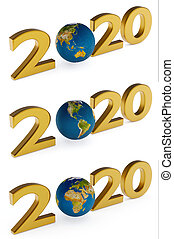 Yearr 2020 and earth globe